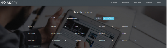 Search ads on AdSpy free tool